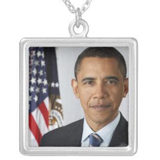 Presidente de los Estados Unidos de Barack Obama 4 Collar Plateado