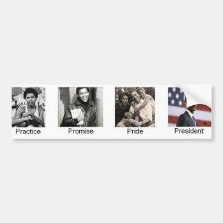 Presidente del orgullo de la práctica de Obama Pegatina De Parachoque