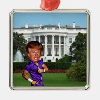 presidente Donald Trump Adorno Navideño Cuadrado De Metal