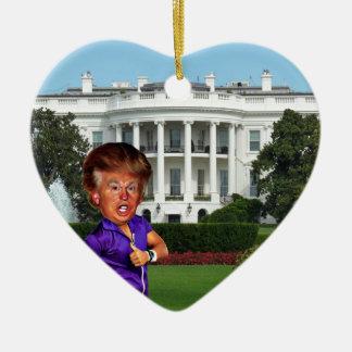 presidente Donald Trump Adorno Navideño De Cerámica En Forma De Corazón