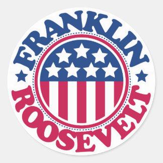 Presidente Franklin Roosevelt de los E.E.U.U. Pegatina Redonda