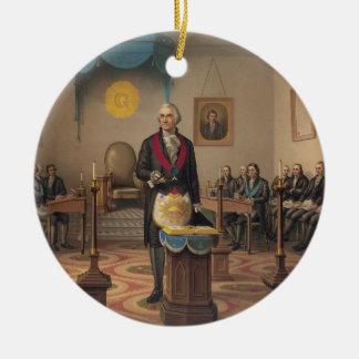 Presidente George Washington como albañil Adorno Navideño Redondo De Cerámica