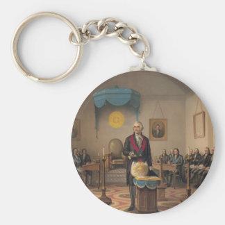 Presidente George Washington como albañil Llavero Redondo Tipo Pin