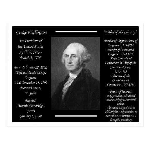 Presidente George Washington Tarjetas Postales