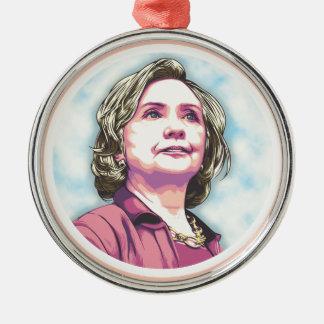 Presidente Hillary Adorno Navideño Redondo De Metal