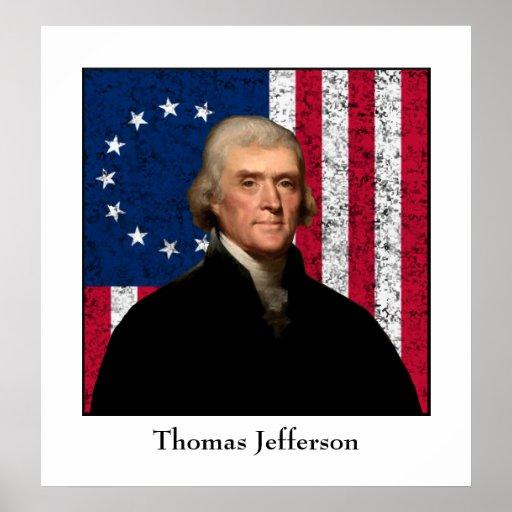 Presidente Jefferson y la bandera americana Impresiones