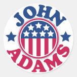Presidente John Adams de los E.E.U.U. Pegatina Redonda
