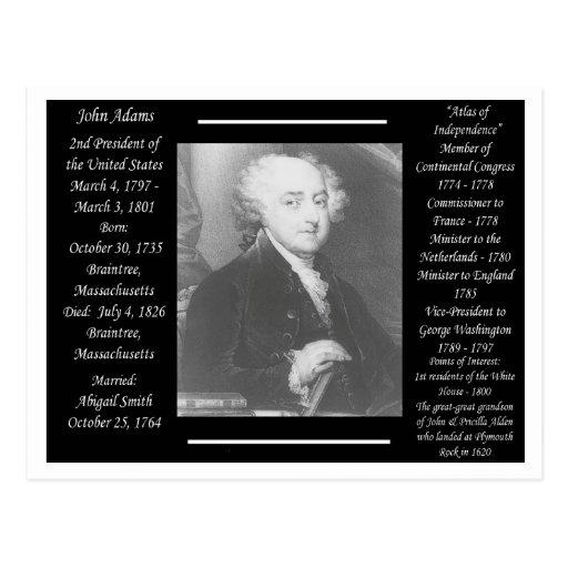 Presidente John Adams Tarjeta Postal