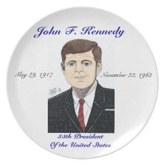 Presidente John F. Kennedy - placa Plato Para Fiesta