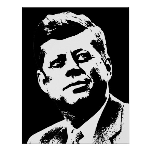 Presidente Kennedy -- Blanco y negro Posters
