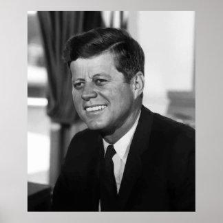 Presidente Kennedy In blanco y negro Póster