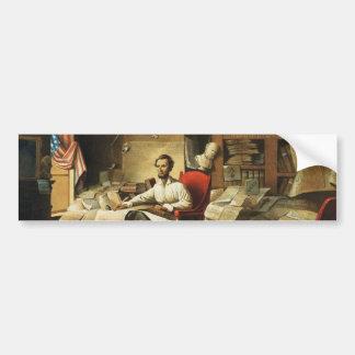 Presidente Lincoln Writing Proclamation de la libe Pegatina Para Auto