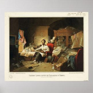 Presidente Lincoln Writing Proclamation de la libe Impresiones