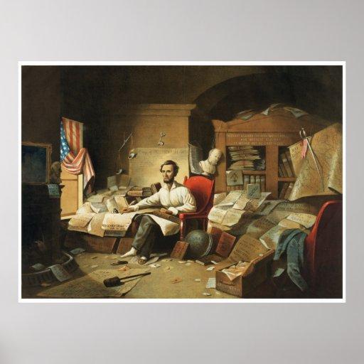 Presidente Lincoln Writing Proclamation de la libe Póster