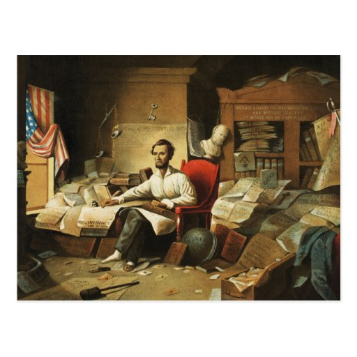Presidente Lincoln Writing Proclamation de la libe Tarjeta Postal