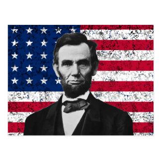 Presidente Lincoln y la bandera americana Postales