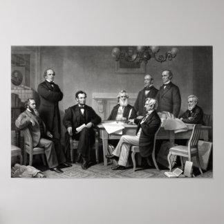 Presidente Lincoln y su gabinete Poster