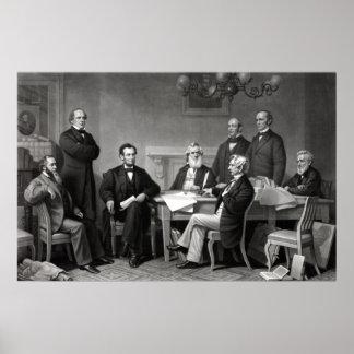 Presidente Lincoln y su gabinete Póster