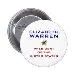 Presidente los E.E.U.U. V2 de Elizabeth Warren Pin Redondo 5 Cm