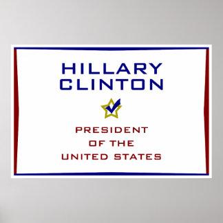 Presidente los E.E.U.U. V2 de Hillary Clinton Póster