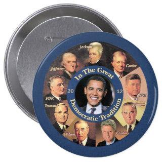 Presidente Obama 2012 Pin Redondo De 4 Pulgadas