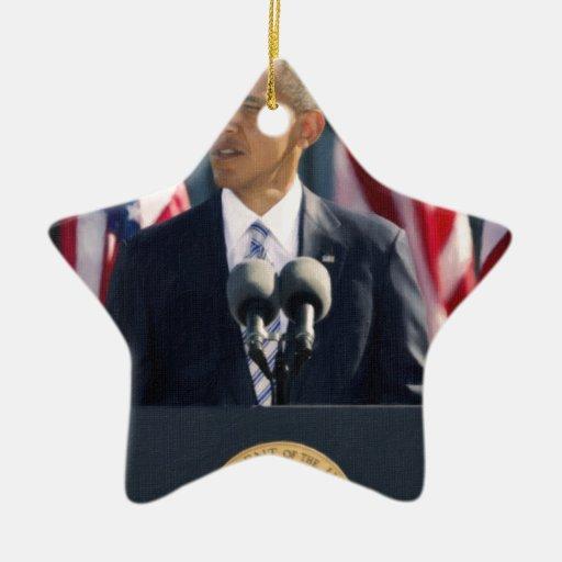 presidente obama 2 adorno navideño de cerámica en forma de estrella