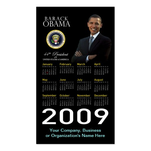 Presidente Obama - calendario del bolsillo de la t Tarjetas De Visita