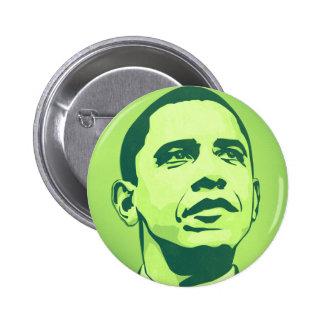 Presidente Obama, cambio ahora es botón verde Pin Redondo De 2 Pulgadas