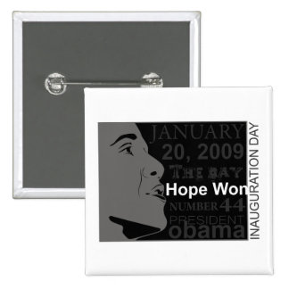 Presidente Obama - día de inauguración Pin Cuadrada 5 Cm