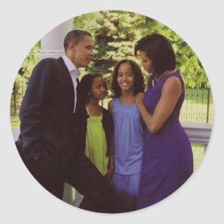 Presidente Obama First Family Pegatina Redonda