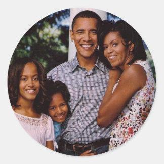 Presidente Obama First Family Pegatinas Redondas