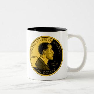 Presidente OBAMA_Gold Coin Mug Taza De Café De Dos Colores