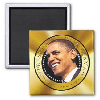 Presidente Obama Gold Seal Magnet Imán Cuadrado