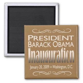 Presidente Obama Inauguration Magnet (moreno) Imán Cuadrado