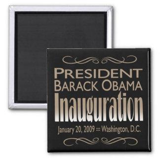 Presidente Obama Inauguration Magnet (negro) Imán Cuadrado