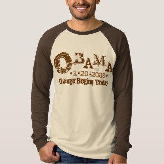Presidente Obama Inauguration T-Shirt Raglan Playeras