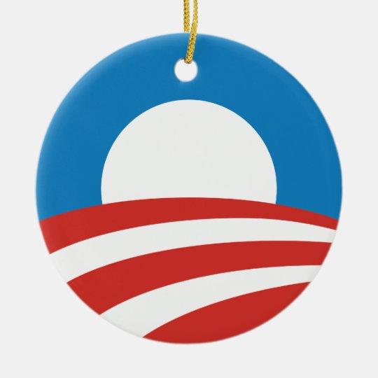 Presidente Obama Logo Ornament Adorno Navideño Redondo De Cerámica