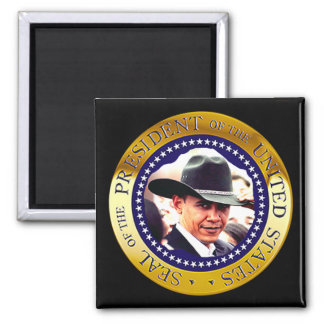 Presidente Obama Magnet (gorra de vaquero) Imán Cuadrado