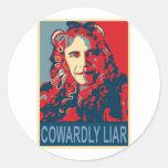 Presidente Obama - mentiroso cobarde Etiquetas Redondas