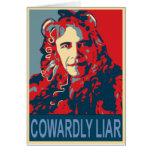Presidente Obama - mentiroso cobarde Tarjeta