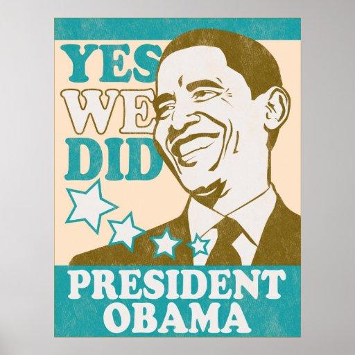 Presidente Obama Poster del vintage Póster