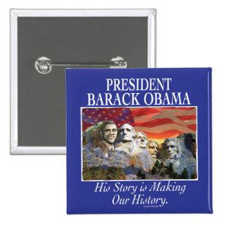 Presidente Obama Rushmore Gear Pin Cuadrado