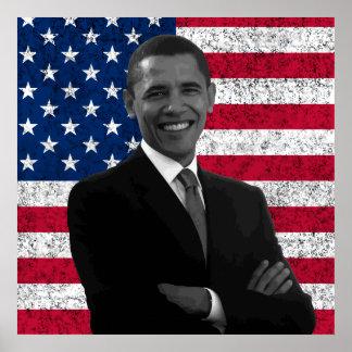 Presidente Obama y la bandera americana Poster