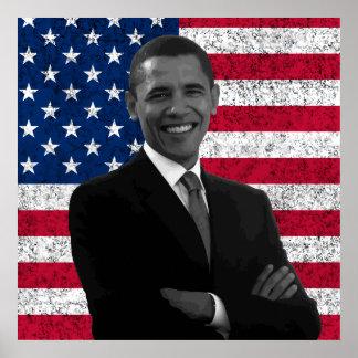 Presidente Obama y la bandera americana Póster