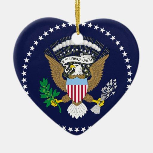 Presidente Of The los Estados Unidos de América, Adorno De Cerámica En Forma De Corazón