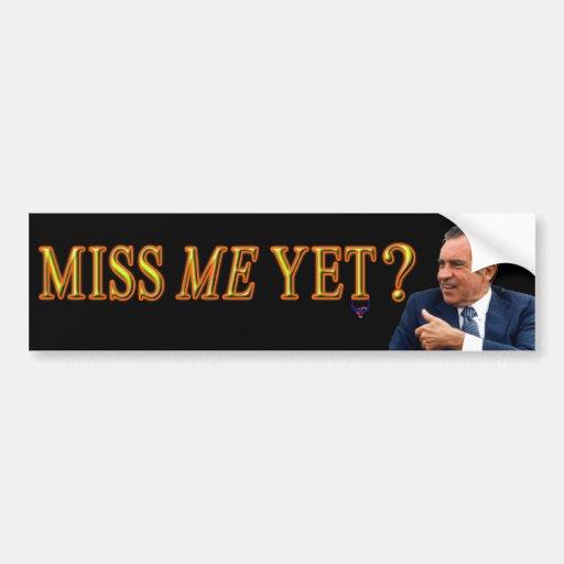 """Presidente Richard Nixon, """"Miss Me con todo """" Pegatina De Parachoque"""