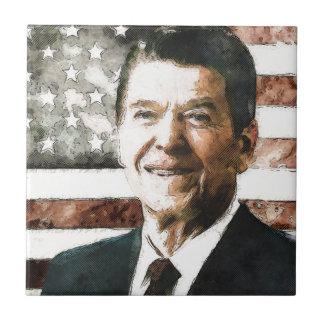 Presidente Ronald Reagan Azulejo Cuadrado Pequeño