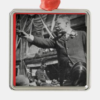Presidente Roosevelt Pointing Vintage Stereoview Adorno Navideño Cuadrado De Metal