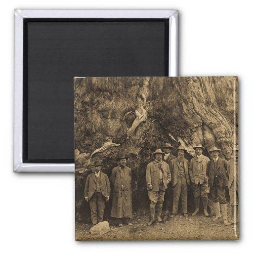 Presidente Roosevelt y John Muir 1903 (sepia) Imán Cuadrado
