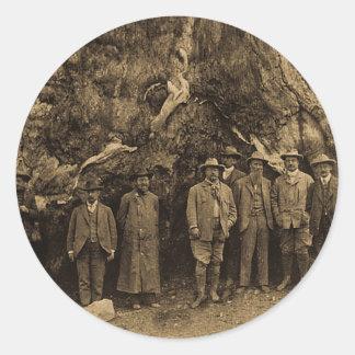 Presidente Roosevelt y vintage de la sepia de John Pegatina Redonda